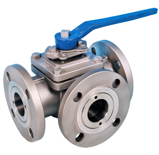 3-Way Flanged DIN PN16 Full Bore Ball Valve ETG F3WL-16, ETG F3WT-16