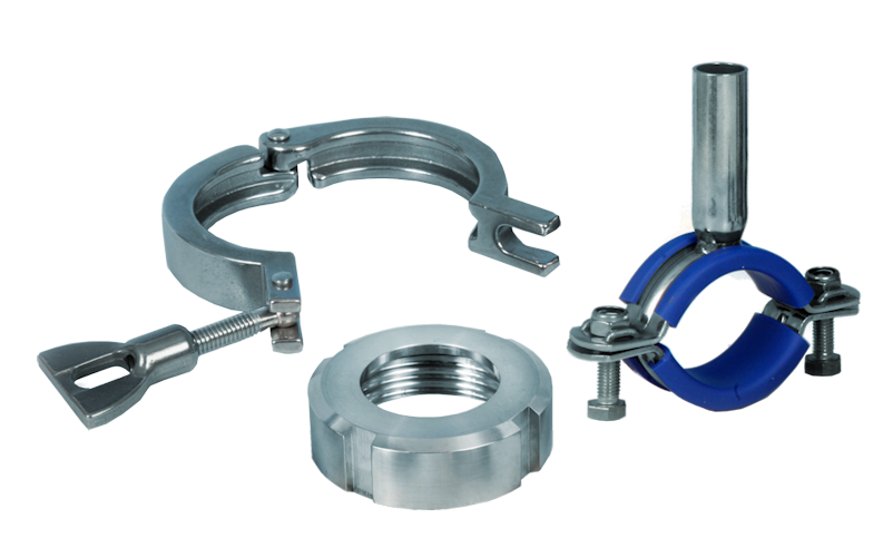 Stainless Steel Hygienic Clamp and DIN Union Parts and Hangers