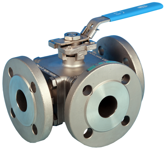 Stainless Steel 3-Way Flanged Full Bore Actuated Ball Valve PN16/40 End Connections