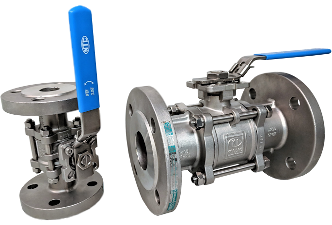 NTC KV-L3F Stainless Steel 3-Pce Full Bore Flanged DIN PN16/40 Direct Mount Ball Valve