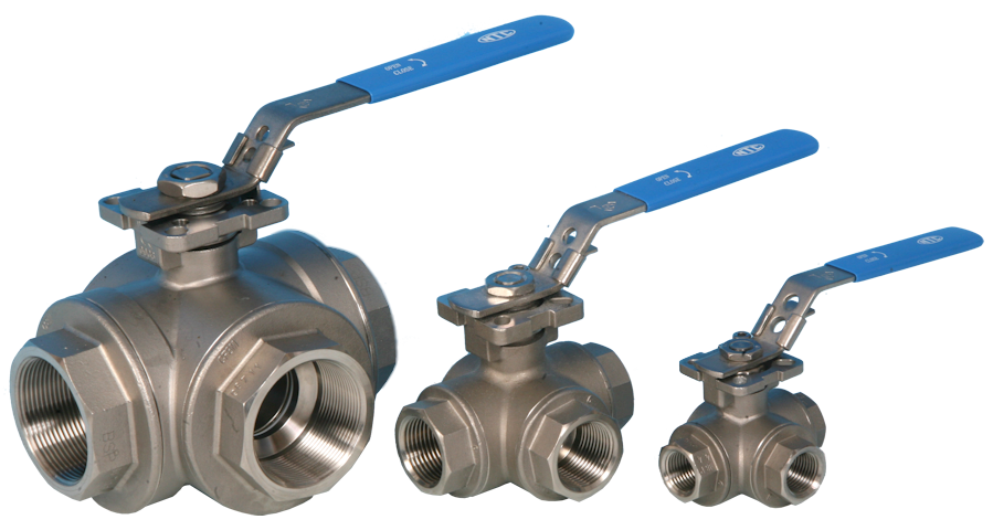 3-Way BSP Screwed Reduced Port Direct Mount Ball Valve