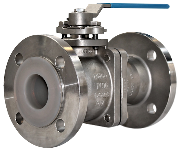 Stainless Steel PFA Lined 2-Pce Full Bore Flanged ANSI 150 Ball Valve NTC KV-N441