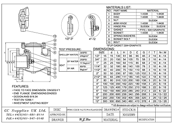 PDF for Swing Pattern Flanged ANSI 150 Check Valve