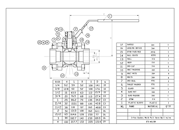 PDF For 3-Pce Socket Weld Full Bore Ball Valve