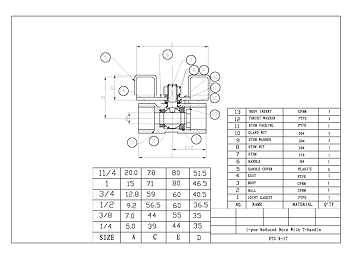 PDF For 1-Pce Reduced Bore T-Handle Ball Valve
