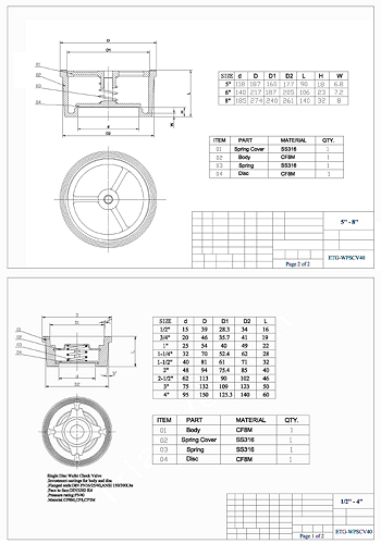 PDF for Wafer Pattern Spring Check Valve