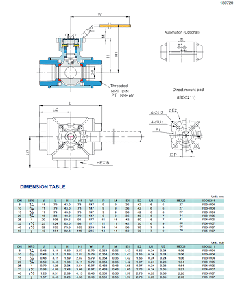PDF for 3-Way Direct Mount Ball Valve NTC KV-L50 L-Port KV-L51 T-Port