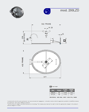 PDF for Stainless Steel 532 x 432mm Oval Pressure Manway 200/LZD
