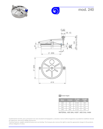 PDF for Stainless Steel 300mm Diameter Round Low/Non-Pressure Manway Door 240/B