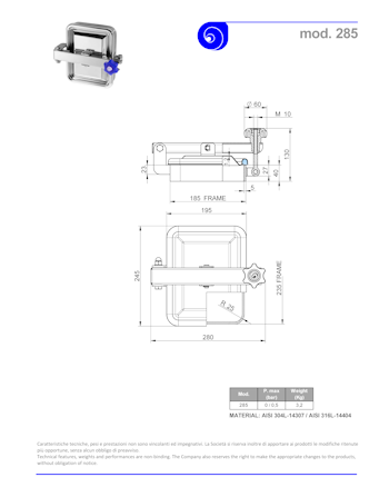 PDF for Stainless Steel 185 × 235mm Rectangular Pressure Manway 285/B 316L