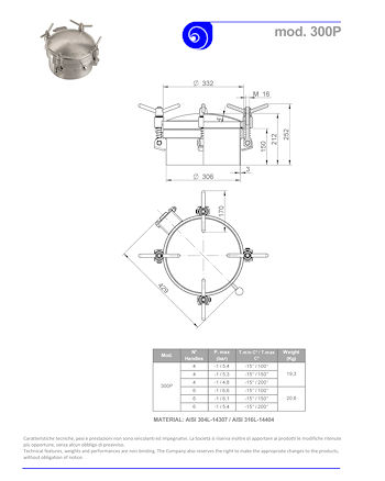 PDF for Stainless Steel 300mm Round Pressure Manway 300P 304L