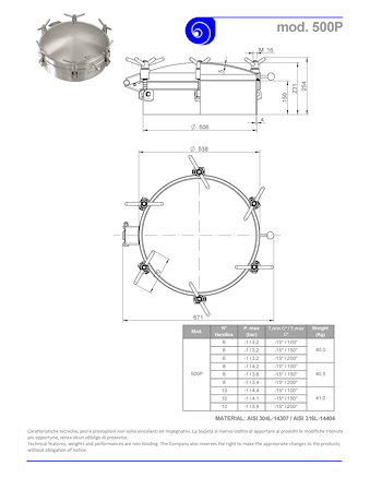 PDF for Stainless Steel 500mm Round Pressure Manway 500P 304L