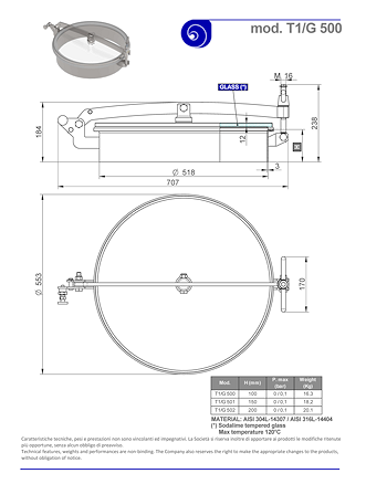 PDF for Stainless Steel 500mm Diameter Round Low/Non-Pressure Manway Door T1/G500 304L/Glass