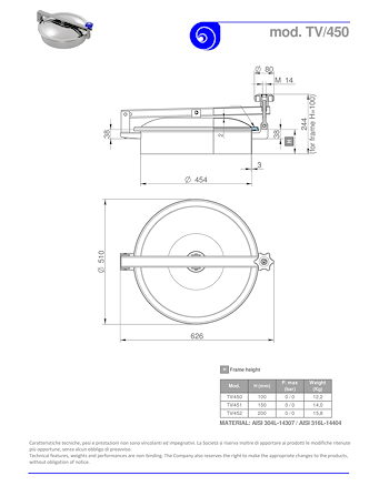 PDF for Stainless Steel 450mm Diameter Round Low/Non-Pressure Manway Door TV/450
