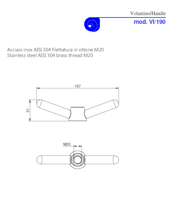 PDF for Stainless Steel AISI 304, Brass Thread Handle Threaded M20 Model VI/190 M20