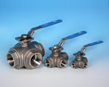 Stainless Steel 3-Way BSP Screwed Reduced Port Direct Mount Ball Valve NTC KV-L50 L-Port KV-L51 T-Port