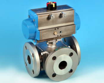 Stainless Steel Pneumatic Actuators 3-Way Flanged Full Bore Actuated Ball Valve PN16/40 End Connections