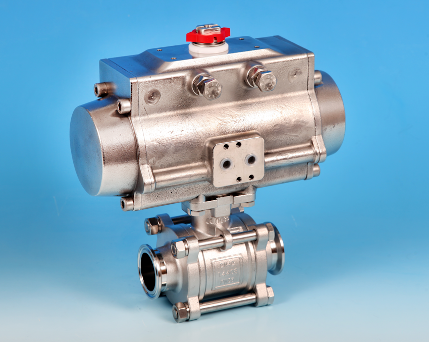 Actuated Ball Valve 3 Pce Full Bore Sanitary Clamp End