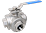 3-Way Full Bore BSP Screwed Direct Mount Ball Valve NTC KV-L53 (L-Port)+NTC KV-L54 (T-Port)