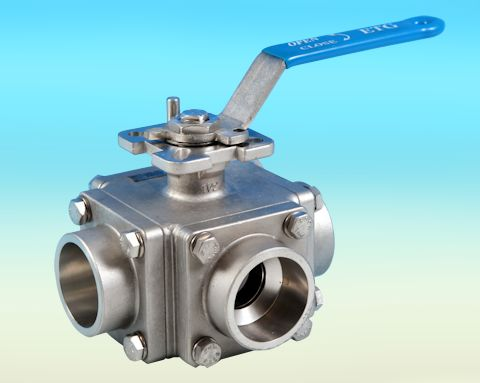 stainless steel 3-Way Socket Weld End Direct Mount Ball Valve