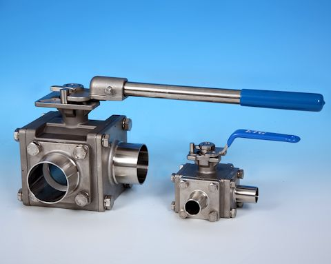 Stainless Steel 3-Way Sanitary Weld End Direct Mount Ball Valve