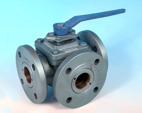 stainless steel 3-Way Cast Iron Flanged DIN PN16 Full Bore Ball Valve