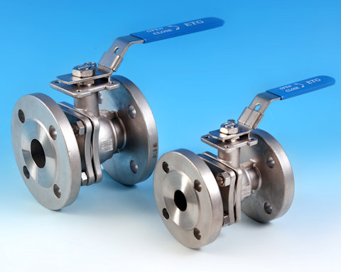 stainless steel 2-Pce Full Bore Flanged PN16 Ball Valve Lever Operated