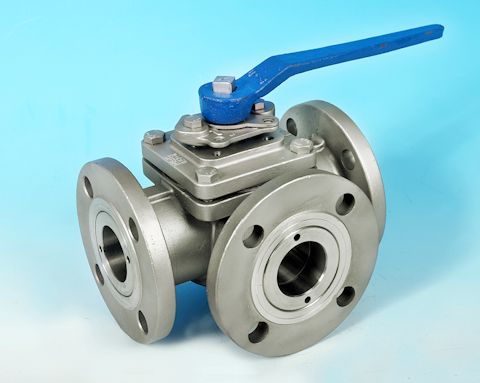 stainless steel 3-Way Flanged DIN PN16 Full Bore Ball Valve