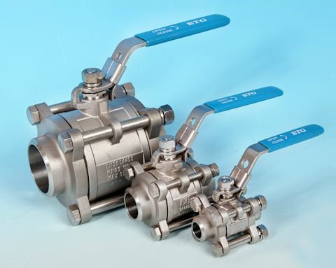 stainless steel 3-Pce Butt Weld Full Bore Ball Valve Lever Operated?